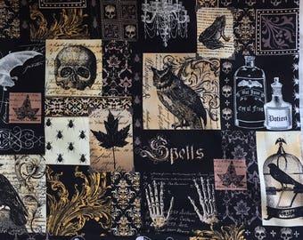 NEVERMORE COLLAGE - Edgar Allen Poe - Michael Miller Fabric -  Raven, Skull, Damask, ( Yard or Half Yard )
