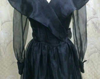 1980s Black Chiffon Wrap Dress with Sheer Sleeves and Rhinestone Cufflinks