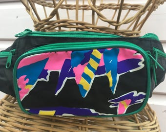 Vintage 1990's rave party bum bag fanny pack black with green trim neon graphic motif holidays travel pink wallet fun and festival fabulous