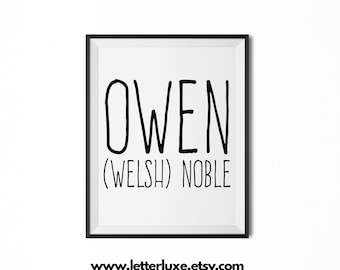 Owen Name Meaning Art - Printable Baby Shower Gift - Nursery Printable Art - Digital Print - Nursery Decor - Typography Wall Decor