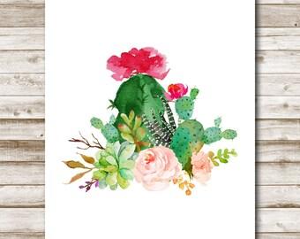 Cactus Bouquet Printable Floral Succulent Wall Art Southwestern Floral Decor Cacti Art Desert Decor 4x6 5x7 8x10 11x14 16x20 Photo Prop
