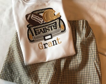 Boys black and gold gingham Saints color truck applique with football applique