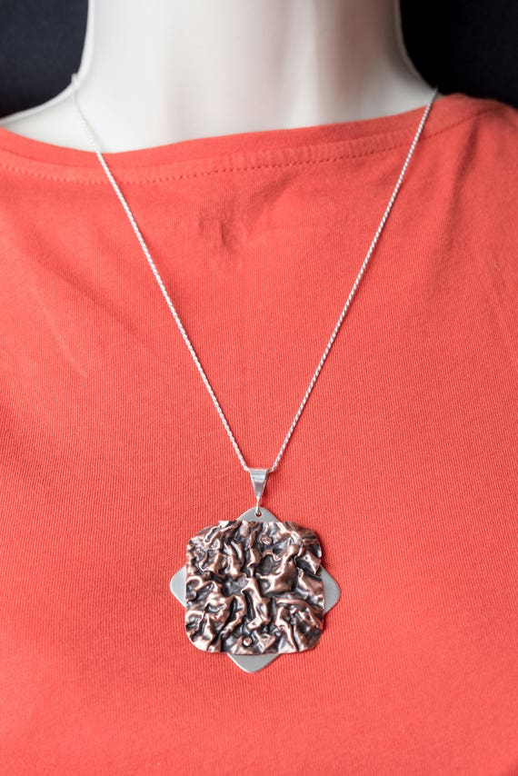 Copper on Sterling Silver Pendant on a Diamond Cut Rope Chain
