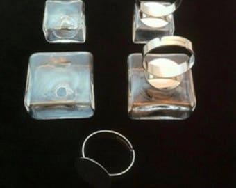 ring bubble glass shape 25 x 25 x 12 mm square