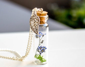Forget me not Necklace, real flower, necklace, jewelry, nature necklace, blown glass silver chain, blue flower necklace, real Forget me not
