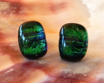Vintage Earrings of Ocean Green Blue Turquoise Dichroic Glass With Post Backing