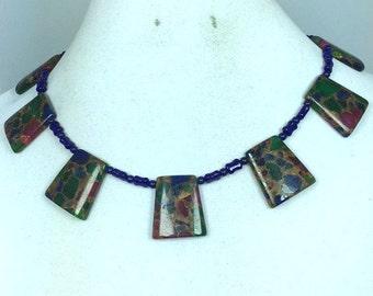Burgundy Green Blue Statement Necklace
