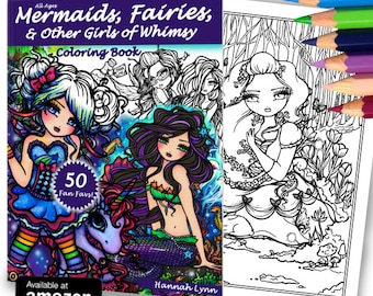 NEW Adult All Ages Fantasy Coloring Pages Book 50 FAN FAVS Mermaid Fairy Art by Hannah Lynn