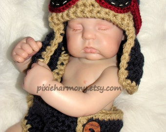 Newborn Baby Boy or Girl Aviator Hat w Goggles and Diaper- Fly - Airplane Hat - Photo Prop - ANY Colors - Earflap Hat - Reborn Doll Clothes