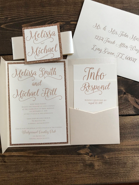Rose gold Wedding Invitation Pocket Wedding Invitation