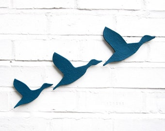 Ceramic wall art - Flying ducks in teal blue - Set of 3 stoneware pottery birds Home decor wall ornaments Modern classic retro silhouette