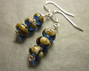 Lampwork glass bead earrings in blue and ochre with silver beads and sterling silver earwires