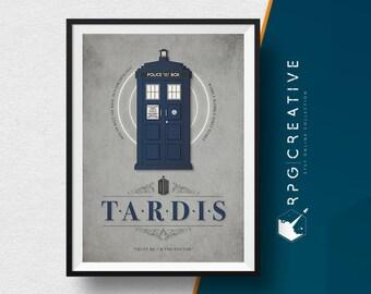 Doctor Who : Tardis Ship - TV Show Dr.Who, Movie Poster, Digital Print, Minimal Style, Geek Decor