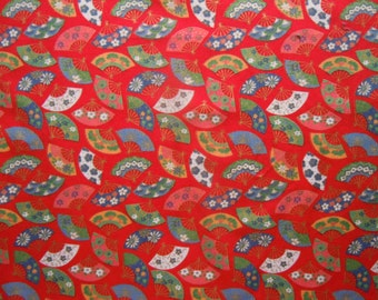 44 X 56 Multi Color Fan Print With Gold Metallic Accents on Red Cotton Fabric Remnant
