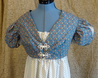 """CLEARANCE! 75% OFF Readymade Regency Petal Sleeve Summer Spencer, Blue With Red Floral, 33"""" Bust"""