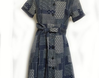 Jayne Dress | Shirt Dress with Bow tie | Unique Demin Pattern in dark Navy| Front Button line I Premium Cotton | Bespoke I Tailored Outfit