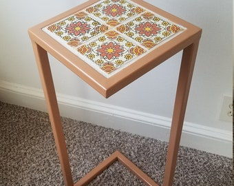 Mexican Tile Table With Welded Steel Base