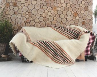 White wool blanket king, Sofa throw, Striped throw, Wool throw blanket,  Natural Winter Coverlet, White Woolbedding, Wedding Gift Warm Throw