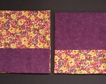 Set of Two Purple-Flowered Standard Pillow Cases