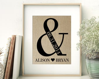 Ampersand Wedding Gift | Personalized Burlap Print | Bride and Groom | Anniversary Gift for Couple | Rustic Wedding Decor | Names and Date