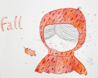 Fall art Fall decor Fall illustration Autumn art Girls room decor Autumn leaves Nursery decor red Girls portrait Autumn decor Red decor