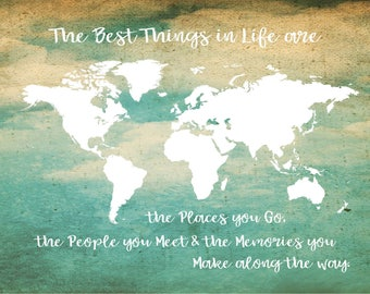 World map canvas etsy class of 2018 grad party deocr the best things in life world map canvas wall art publicscrutiny Images