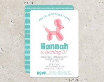 Balloon animal birthday party invitation- aqua and pink