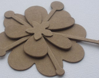 12 Pc DECORATIVE Flower Layers - Raw Floral CHiPBOARD Bare Die Cuts