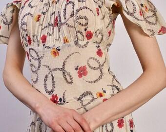 Vintage Floral 1930s Dress