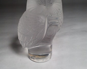 "LALIQUE Crystal Frosted & Clear Glass Owl Paperweight - 3.5"" tall and 2"" wide."
