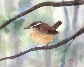 Wren Original Watercolor Painting, 8 x 10 inches, Carolina Wren Bird Art, Backyard Bird, Songbird, Winter or Spring