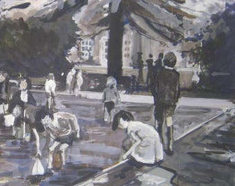 The Paddling Pools, Dunfermline. Acrylic study.