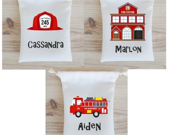 Firefighters Favor Bags Firemen Party Favors Personalized Party Gift Bags Loot Bags Goodie Bags Birthday Party Favors Firehouse Fire truck