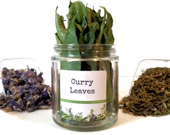 Dried Curry Leaves/Gourmet Herbs/Dried Herbs/Food Gift/Gifts For Foodies/Foodie Gift/Seasonings Gifts/Kitchen Pantry/Chef Gift/Curry
