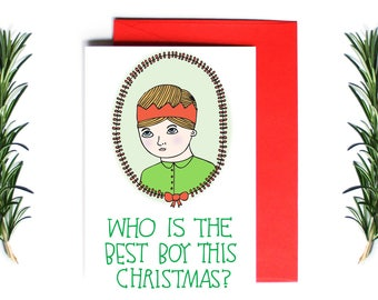 Christmas Card - Who Is The Best Boy This Christmas? | Greeting Card | Holiday Card