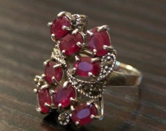 ON SALE One of a kind- Ruby Marcasite Silver Ring