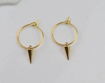 gold spiky hoop earring spike hoops huggie earrings simple earrings everyday/gift for her