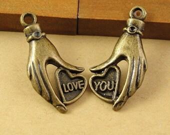 Bulk Lot 50 sets of Love Hand Pendant 16x31mm Wholesale Charms Pendants Antique Bronze Pendant PA0526-A1990