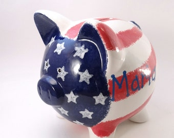 American Piggy Bank - Personalized Piggy Bank - Flag Piggy Bank - Americana Savings Bank - Made in USA - with hole or NO hole in bottom