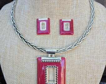 Unique Red and Silver Square Pendent on a Silver Braided Chocker Chain and matching Earrings