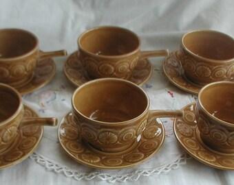 Set of Six Tams Soup Bowls and Saucers