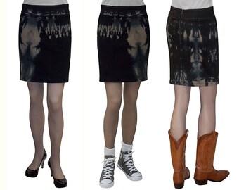 Baby'O Women's Tie Dye Stretch Denim Mini Skirt - Tan / Black