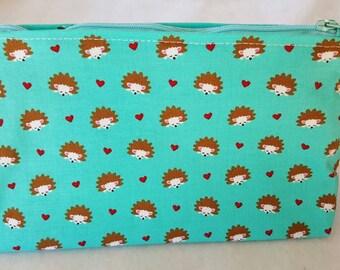 Hedgehog print cosmetic bag. Zipper pouch, make-up bag,  hedgehog accessories