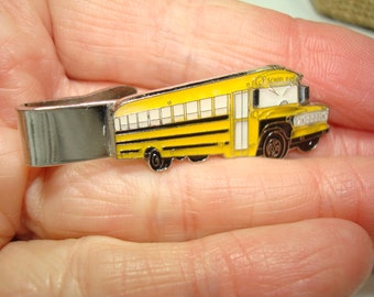 1970's School Bus Driver Yellow Bus Tie Clip.