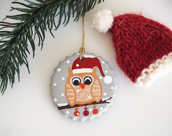 Owl ornament - Christmas ornament - Owl Christmas decoration - Owl decoration - Holiday ornament - Owl decor - Owl gift - Stocking stuffer