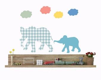 Nursery elephant decor, baby elephant, Elephant wall decals, elephant sticker, cloud wall decals, blue elephant, baby boy nursery, baby gift