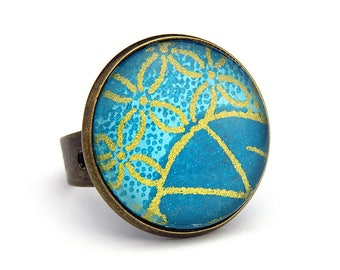 Ring for woman with Japanese motifs - leaves