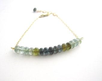 Moss Aquamarine Bracelet, March Birthday, Minimalist Jewelry, Dainty Bracelet, March Birthstone, Ombre Bracelet