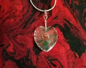 Vintage Reverse Carved Painted Glass Rose Heart Charm Necklace, Rose Heart Necklace, Heart Necklace, Hand Painted with Sterling Silver Chain