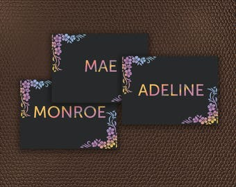 Name Cards + Size Card + Price Card | Chalkboard Instant Download 5x7